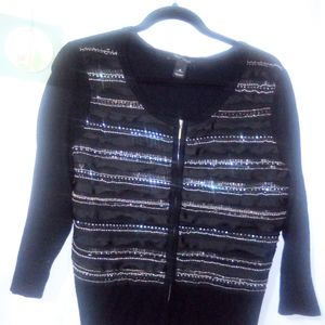 WHBM Black 3/4 Sleeve Sequin Sweater